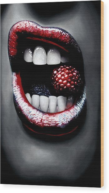 Raspberry Wood Print by Kalie Hoodhood