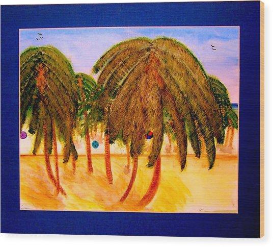 Rasta Palms Wood Print