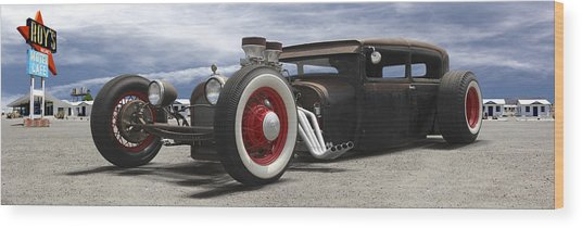 Rat Rod On Route 66 Panoramic Wood Print