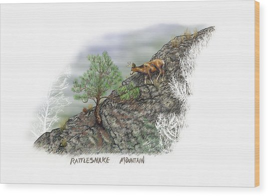 Rattlesnake Mountain Wood Print
