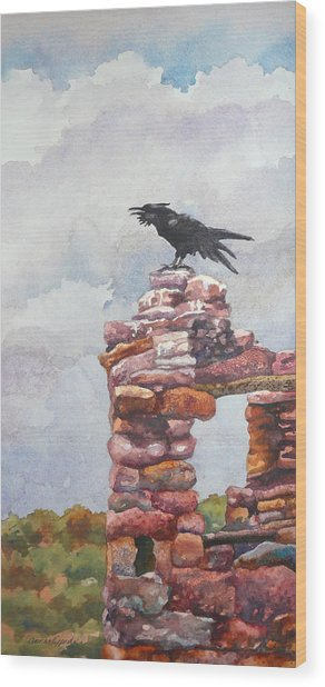 Raven At Hovenweep Wood Print