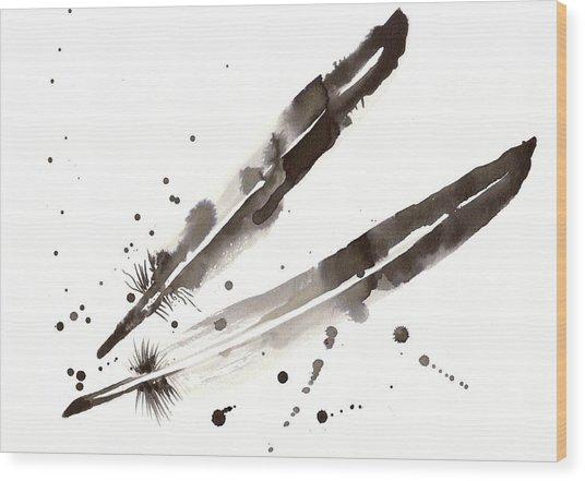 Raven Crow Feathers Wood Print