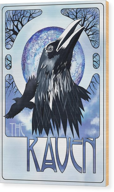Raven Illustration Wood Print