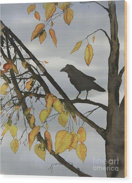 Raven In Birch Wood Print