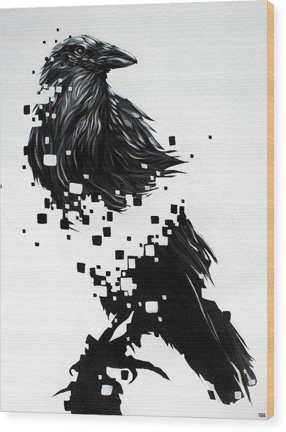 Raven Wood Print by Jeremy Scott