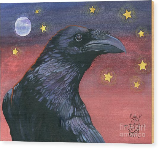 Raven Steals The Moon - Moon What Moon? Wood Print