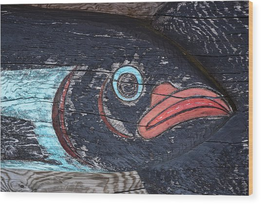 Raven Totem Figure Wood Print