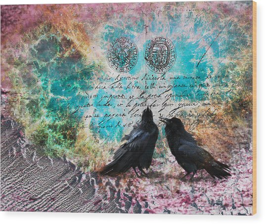 Raven Whispers In The Nowhere Wood Print