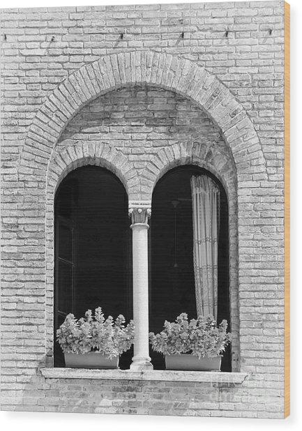 Ravenna Window Mono Wood Print