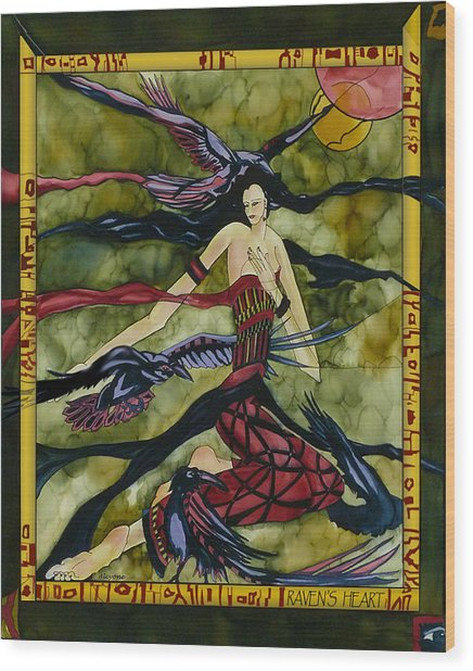 Raven's Heart Wood Print