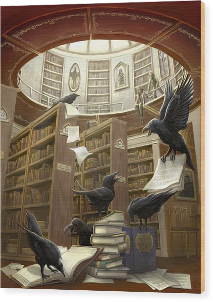 Ravens In The Library Wood Print