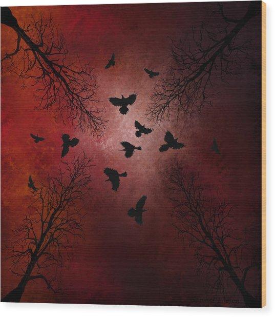 Ravens In The Sky Wood Print