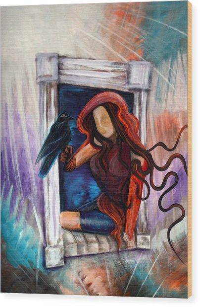 Raven's Wish Wood Print by Laura Barbosa