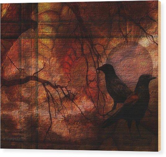 Ravens World Edited Wood Print