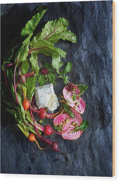 Raw Beeet Salad Ingredients Wood Print by Annabelle Breakey