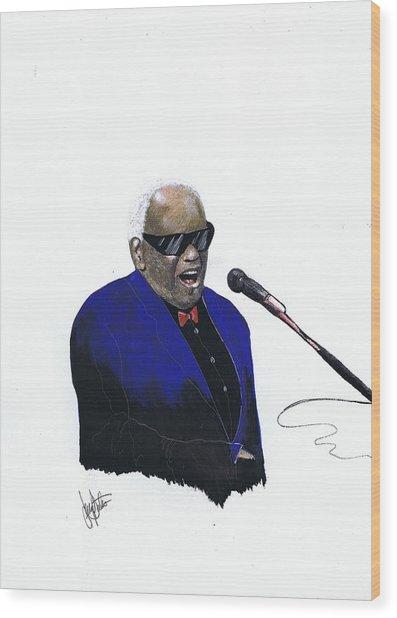 Ray Charles Wood Print