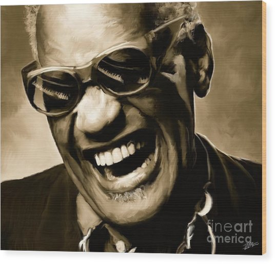 Ray Charles - Portrait Wood Print