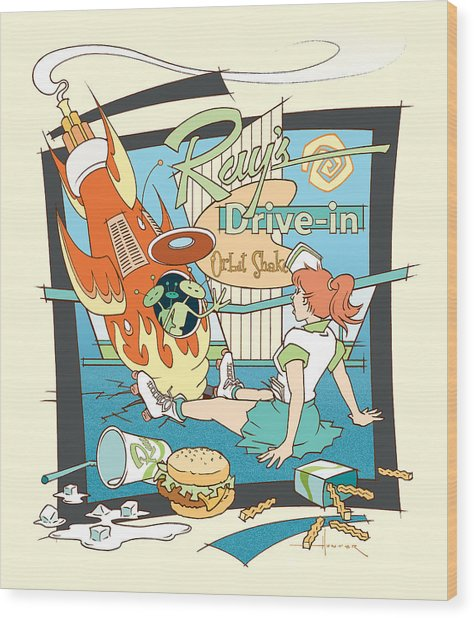 Ray's Drive-in - Redhead Wood Print