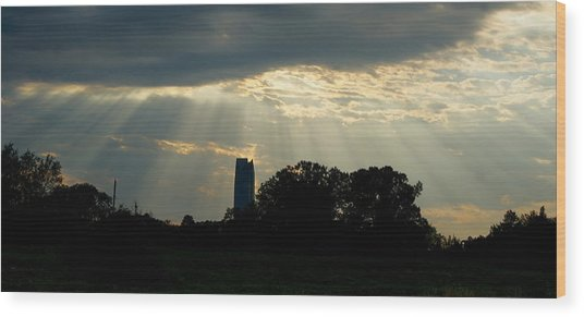Rays Of Hope In Oklahoma Wood Print