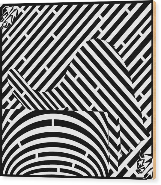 Reaching Cat Maze Op Art Wood Print by Yonatan Frimer Op Art Mazes