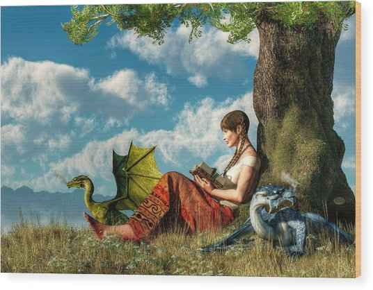 Reading About Dragons Wood Print