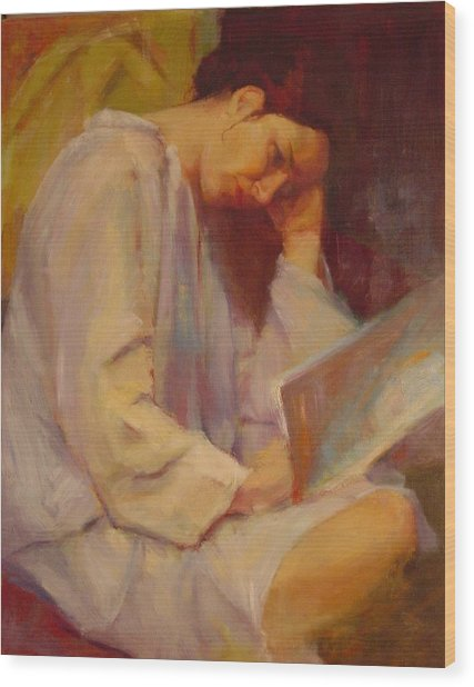 Reading In The Blue Robe  Wood Print by Irena  Jablonski