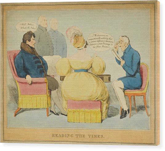 'reading The Times' William Iv Wood Print by Mary Evans Picture Library
