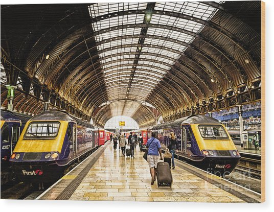 Ready For Departure - Trains Ready To Depart From Under The Grand Roof Of London Paddington Station Wood Print