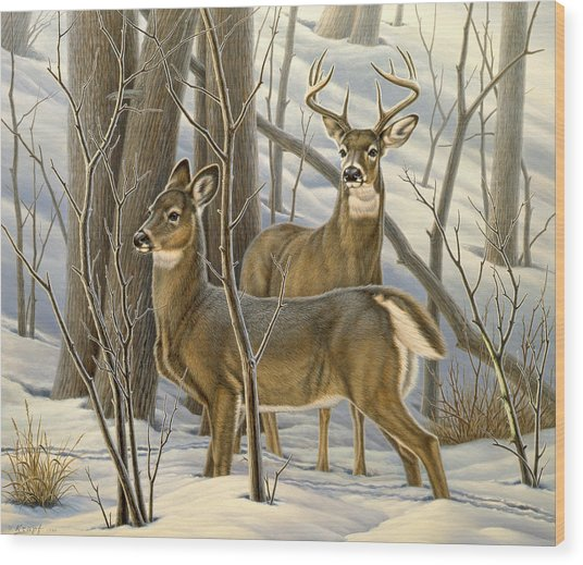Ready - Whitetail Deer Wood Print