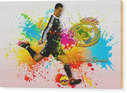 Real Madrid - Portuguese Forward Cristiano Ronaldo Wood Print