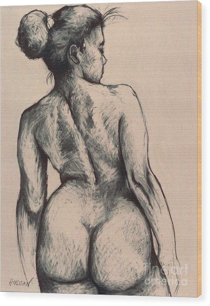 realistic nude figure drawing - Katja on Beige Wood Print