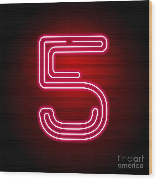 Realistic Red Neon Number. Number With Wood Print