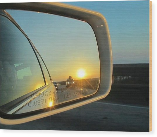 Rear View Sunset Wood Print