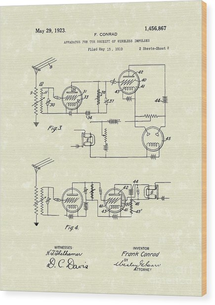Receiver 1923 Patent Art Wood Print