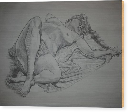 Reclining Female Nude Wood Print