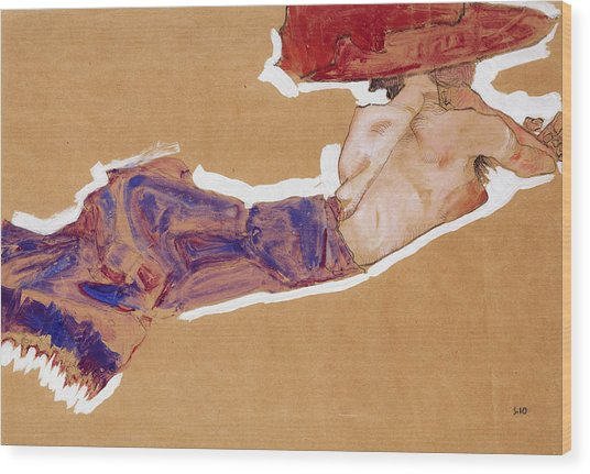 Reclining Semi-nude With Red Hat Wood Print