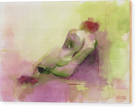 Reclining Woman Magenta Green And Orange Watercolor Painting Wood Print