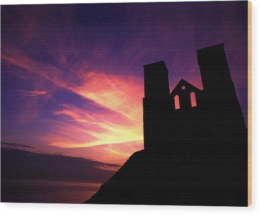 Reculver Church At Sunrise Wood Print