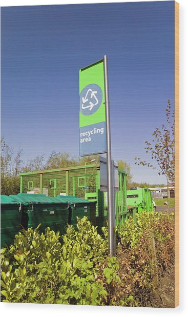 Recycling Collection Point Wood Print by Simon Fraser/science Photo Library
