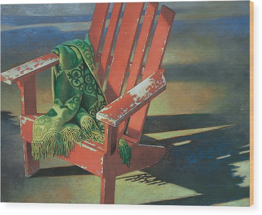 Red Adirondack Chair Wood Print
