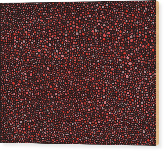 Red And Black Circles Wood Print