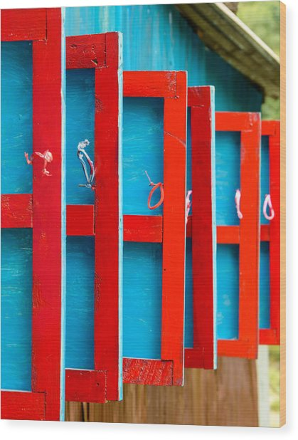 Red And Blue Wooden Shutters Wood Print
