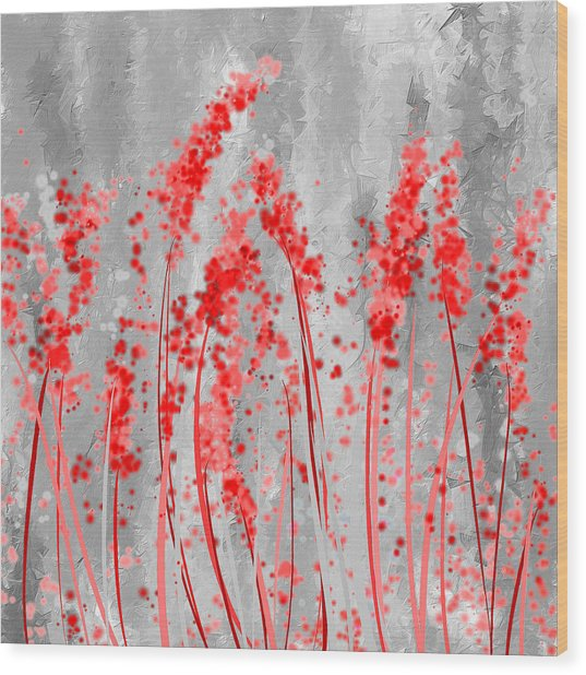 Red And Gray Art Wood Print