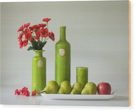 Red And Green With Apple And Pears Wood Print by Jacqueline Hammer