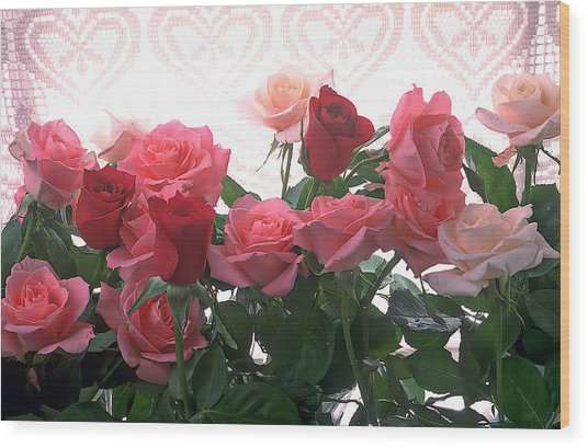 Red And Pink Roses In Window Wood Print