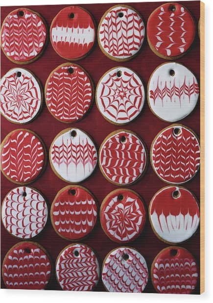 Red And White Christmas Cookies Wood Print