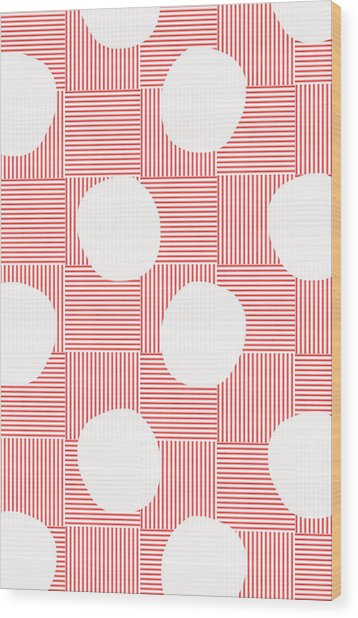 Red And White Poof  Wood Print