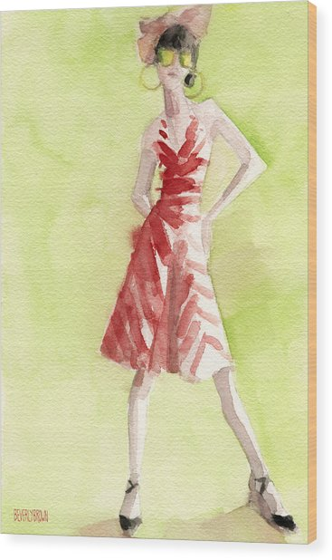 Red And White Striped Dress Fashion Illustration Art Print Wood Print