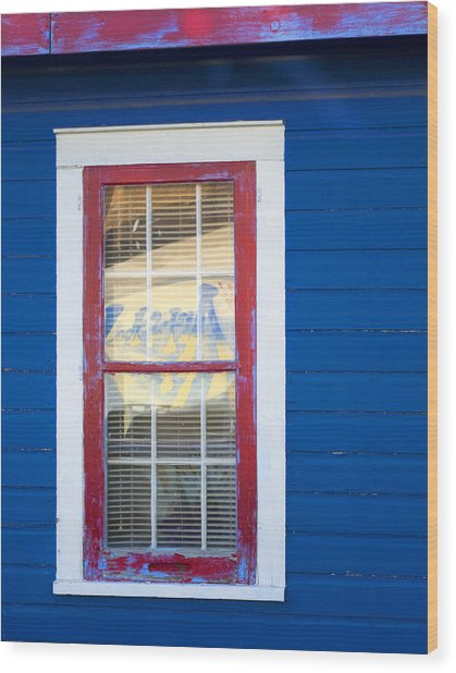 Red And White Window In Blue Wall Wood Print