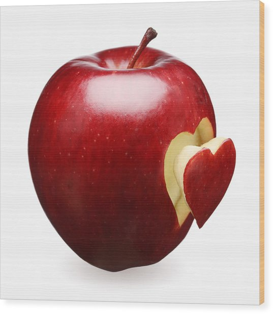 Red Apple With Heart Wood Print